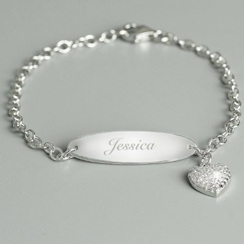 Children's Sterling Silver and Cubic Zirconia Bracelet